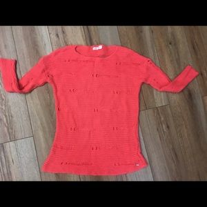 Volcom Sienna Orange Holey Soft Sweater